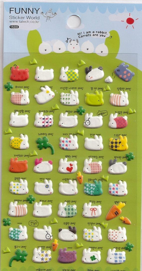 Kawaii Korean Super Cute Rabbit Bunny Puffy Stickers - Perfect for scrapbooking, card-making, dairy, journaling, etc.