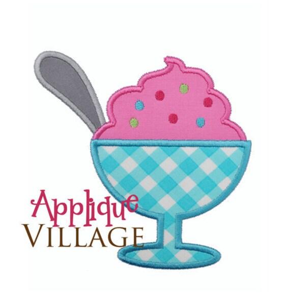 Ice Cream Sunday Applique Embroidery Design