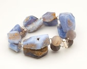Blue Chalcedony Druzy Agate - Sterling Silver Bracelet