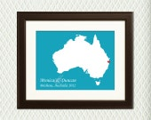 BRISBANE, AUSTRALIA WEDDING - Personalized Wedding Gift for an engagement, wedding, honeymoon or anniversary. Any city eg. Melbourne, Sydney