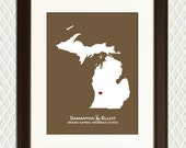 MICHIGAN State -  Personalized Map for an Engagement, Wedding, Anniversary or Christmas. A heart on any town eg. Detroit, etc