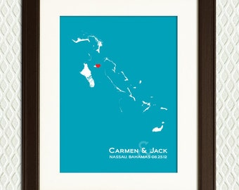 Personalized WEDDING GIFT- Bahamas Map with a heart for a Bridal Shower, Destination Wedding, Honeymoon or Anniversary