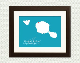 WEDDING GIFT - Tahiti Map Personalized for an Engagement, Wedding Shower, Destination Wedding, Honeymoon, or Anniversary Gift with a heart
