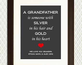 Christmas Gift or Father's Day Gift for GRANDFATHER - Personalized Quote for father, dad, granddad, grandfather, or grandpa