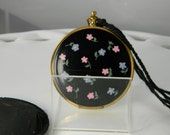Vintage Ladies Compact Brass and Enamel Stopwatch Style