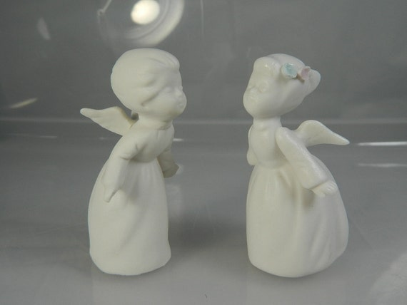 Vintage Napco Kissing Angels Bisque Porcelain Figurines