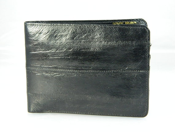 Genuine Eel Skin Mans Black Wallet Vintage