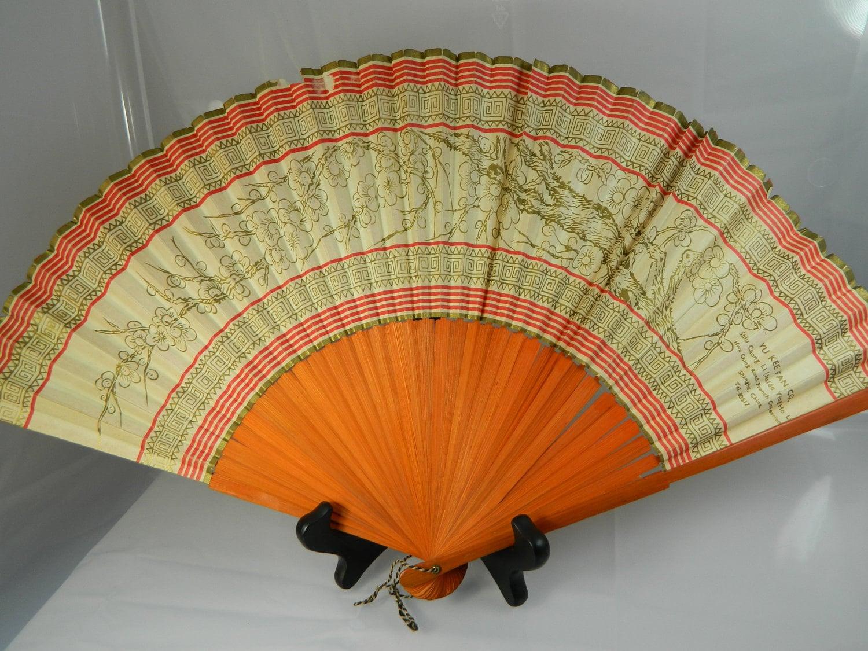 Antique Fan Handheld Asian Decor 1920s Hand Painted Fan