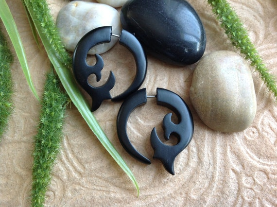 Fake Gauges, Earrings, Naturally Organic, Sono Wood, Hand Carved, Black