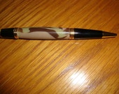 Desert Camo Acrylic BallPoint Pen, Hand carved, one of a kind