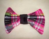 Pink Black Green and Silver Plaid hair bow clip