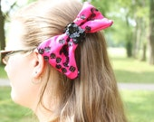 Hair Bow Clip - Pink and Black Sequin