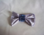 Patriotic Hair Bow Hairclip - Silver with Blue sequins