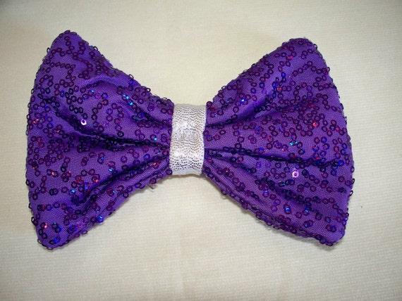 Hair Bow Clip - Purple Reflective Micro Sequin
