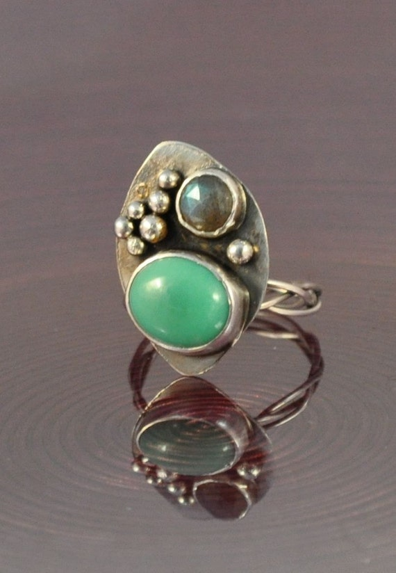 Chrysoprase faceted labradorite 2 stone cocktail ring size 9 1/2