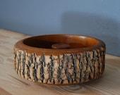 Vintage Log Bowl / Wood Bark Nut Bowl / Rustic