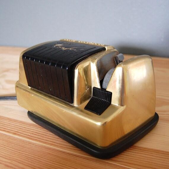 Vintage Knife Sharpener / Crown Jewel / Gold / Mid Century Modern