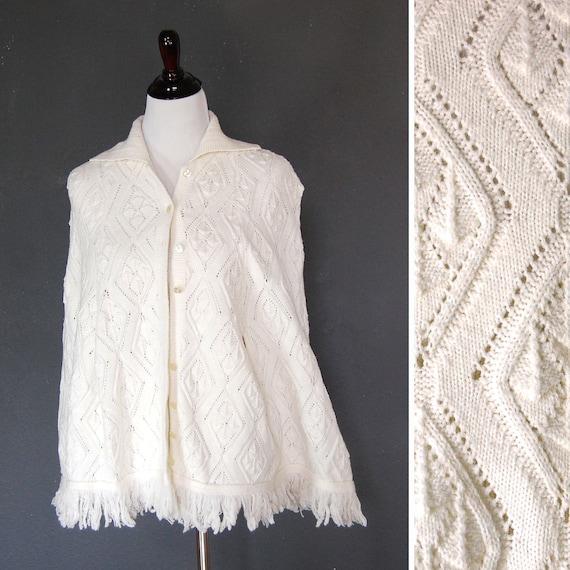 Vintage Knit Cape / Poncho Shawl / Ivory / Orlon Acrylic