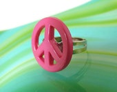 Peace Sign Ring - Adjustable Pink Version