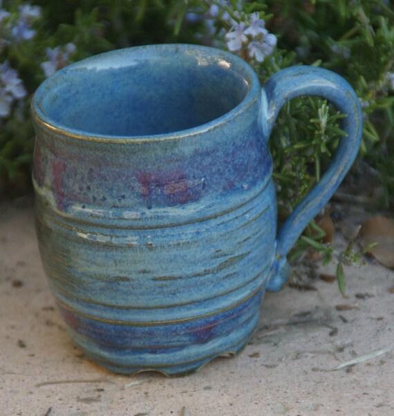 Blue Ruffle Bottom Mug - hand thrown stoneware pottery