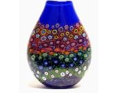 Hand Blown Art Glass Vase Blue