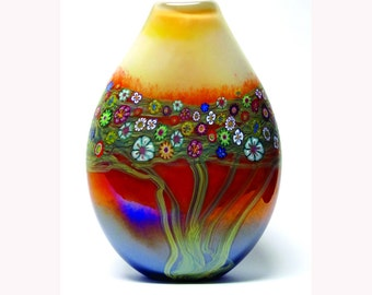 Hand Blown Art Glass Vase - Mango Vines Vase
