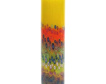Hand Blown Art Glass Vase - Yellow  Garden Cylinder
