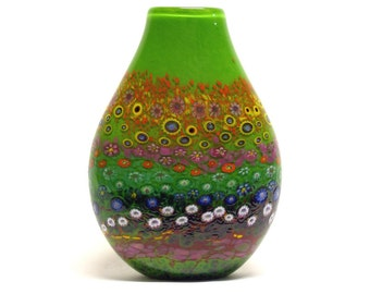 HAND BLOWN GLASS Art Glass Vase Apple Green