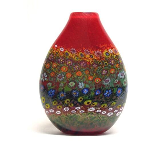 HAND  BLOWN GLASS Art Glass Vase Red