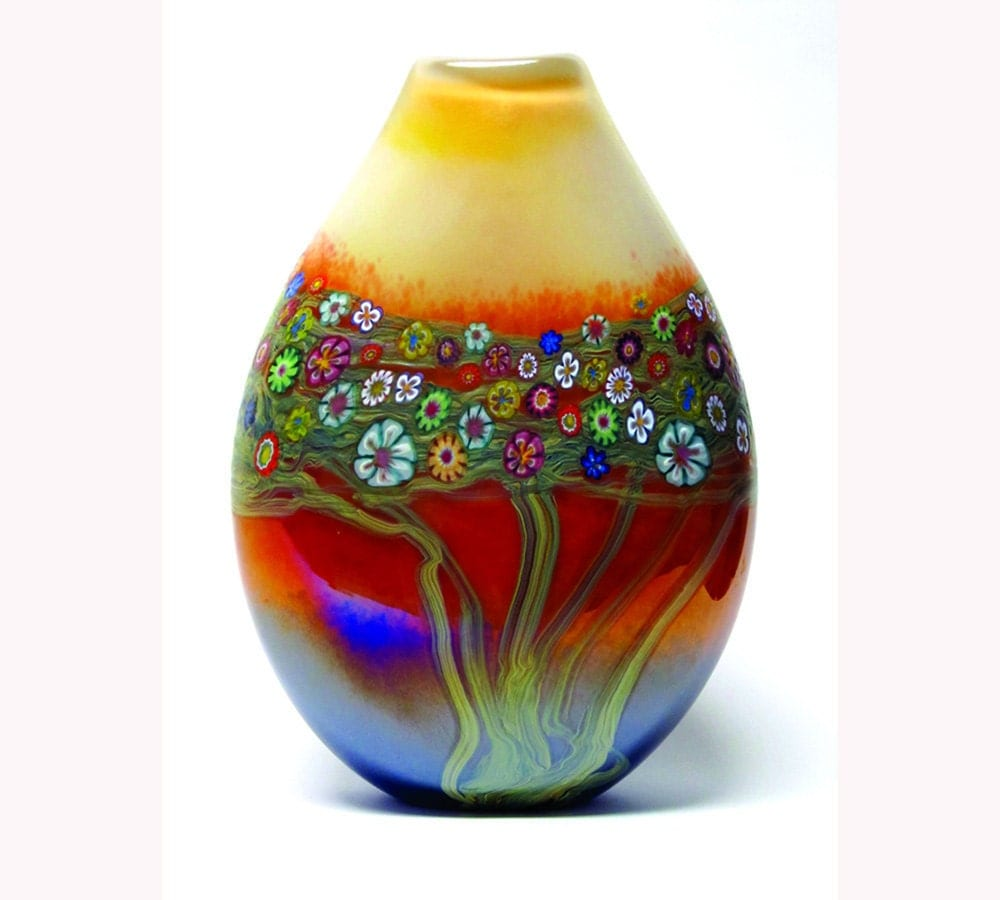 Hand Blown Art Glass Vase Mango Vines Vase