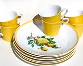 Vintage Lemon Yellow Porcelain Dishes and Cups Set 6 Place Settings