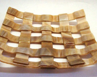 Fused Glass Plate - Faux Weave - CIG 20009021