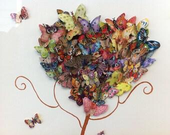 Watercolour Painting, Original, Framed, 3D, Butterflies, Love, Heart, Colourful, Home Decor Wall Art, Teenager, Nursery, Family Room,