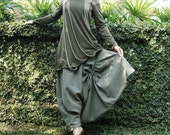 NO.26 Light Olive Green Cotton Asymmetric Harem Pants
