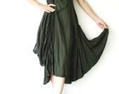 NO.38 Dark Green Cotton Halter Neck Midi Dress