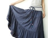 NO.25  Greyish Blue Cotton, Hippie Gypsy Boho Tiered Long Peasant Skirt