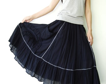 NO.2  Blue Cotton Ruffle Midi Skirt