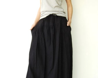 NO.34 Black Cotton Pleated Front Skirt, Versatility Skirt-Pants