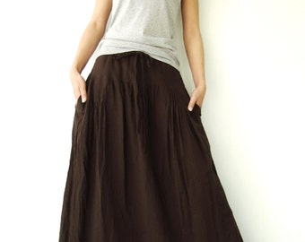 NO.34 Dark Brown Cotton Pleated Front Skirt, Versatility Skirt-Pants