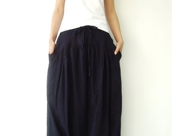 NO.34 Indigo Blue Cotton Pleated Front Skirt, Versatility Skirt-Pants
