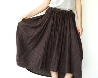 NO.40 Dark Brown And Skinny Cream Dotted Lines Cotton High Low Skirt