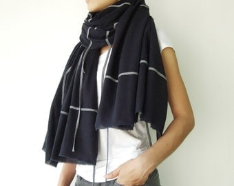 NO.1 Dark Blue/Grey Cotton Geometric Corded Striped Appliqué Over-Sized Scarf-Hand Dyed, Unisex Scarf