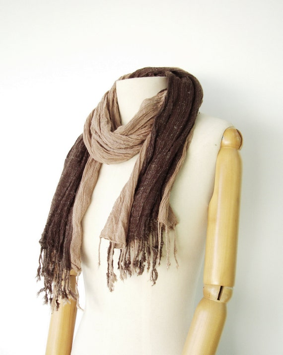 NO.12 Unisex Two-Tone Brown/Sand Cotton Gauze Double Layer Scarf-Hand Dyed