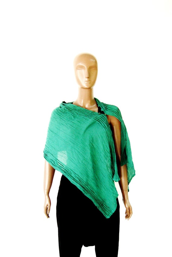 NO.16 Green Cotton Scarf-Top-Cape-Vest.......What Ever You Call It