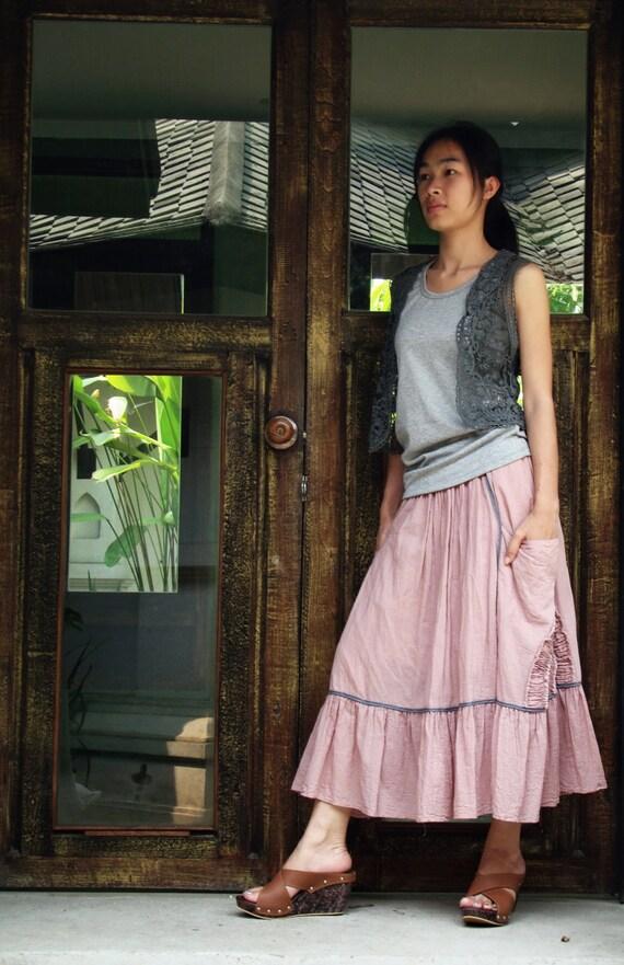 NO.2 Dusty Rose Cotton Ruffle Midi Skirt