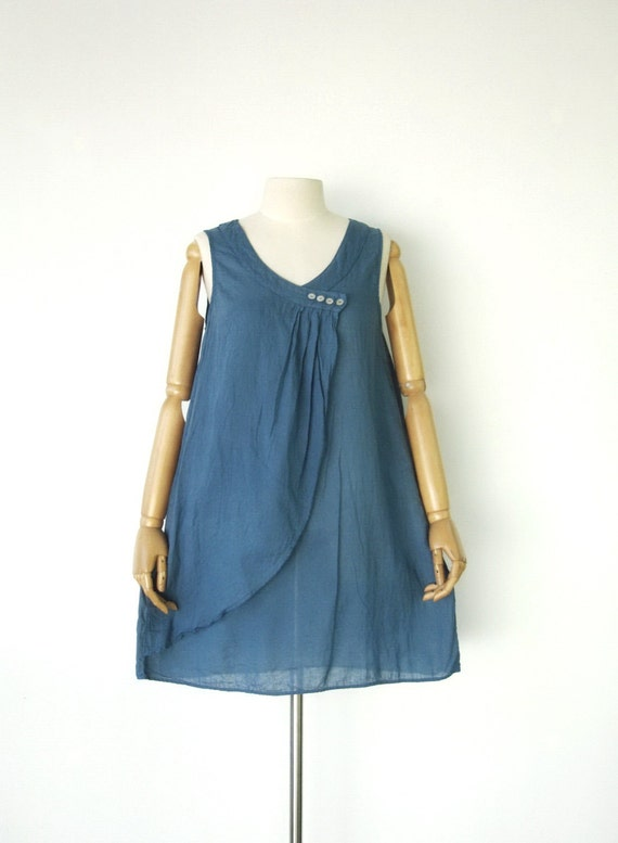 NO.10  Greyish-Blue Cotton Draped Front Top