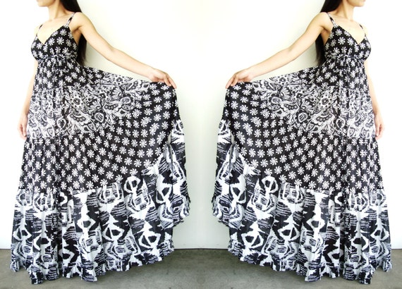 NO.39  Black & White Cotton Gauze Mixed Print Maxi Dress, Summer