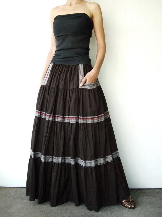 NO.41 Dark Greyish Brown Muslin Cotton Tiered Peasant Maxi Skirt