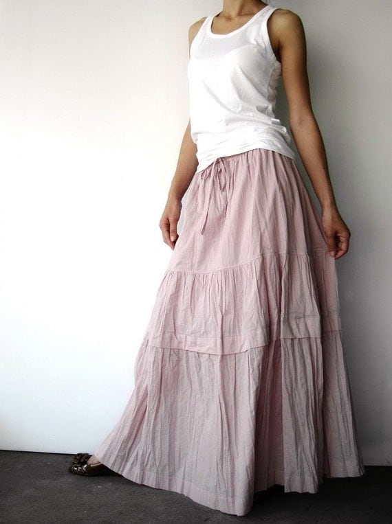 NO.41 Light Dusty Pink  Cotton Crinkle Maxi Skirt