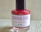 "Red Glitter Nail Polish ""Blood Lust"" Full Size Bottle 0.5 oz Blood Red Nail Polish"